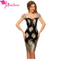 Dear Lover Party Dresses Elegant Sexy Ladies Gold Embroidered Puff Sleeve Little Black Slim Dress Vestido