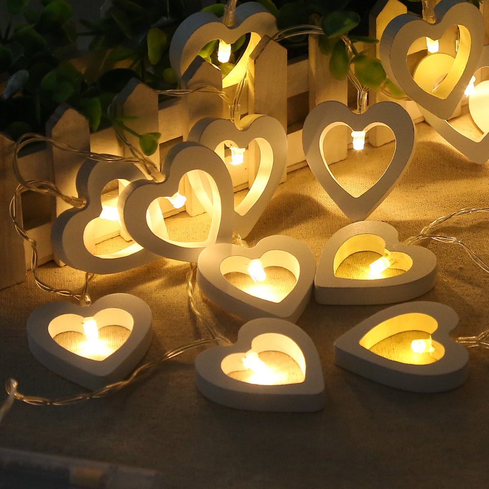 1.2 meters 10 wooden heart modeling decorative lamp string Holiday Christmas lamp string dress indoor battery box