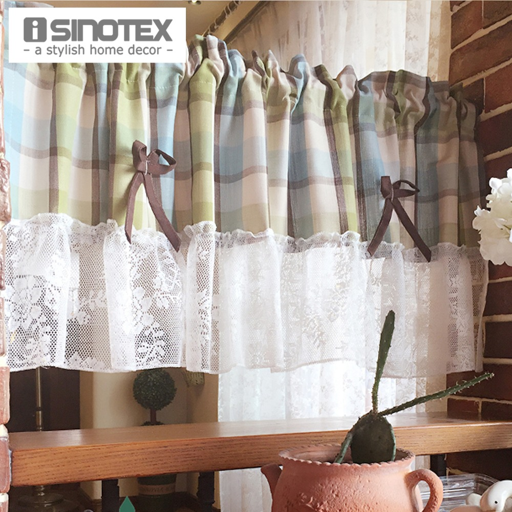 Kitchen Curtain Coffee Curtain Polyester Dust Proof Pleated Plaid Pattern  Decoration For Kitchen 1 PCS