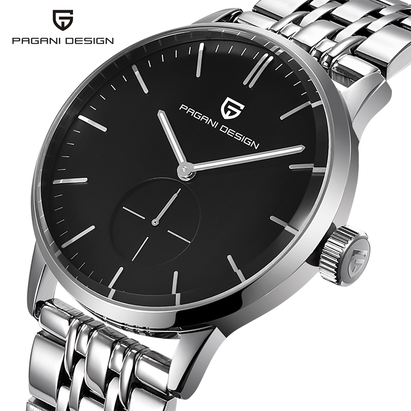 PAGAIN Design Luxury Brand men's watches simple fashion full steel quartz-watch,dress men wristwatch silver black clock male design for men full steel watch quartz fashion hot sale relojes male watches fashions luxury round dial famous brand relogios