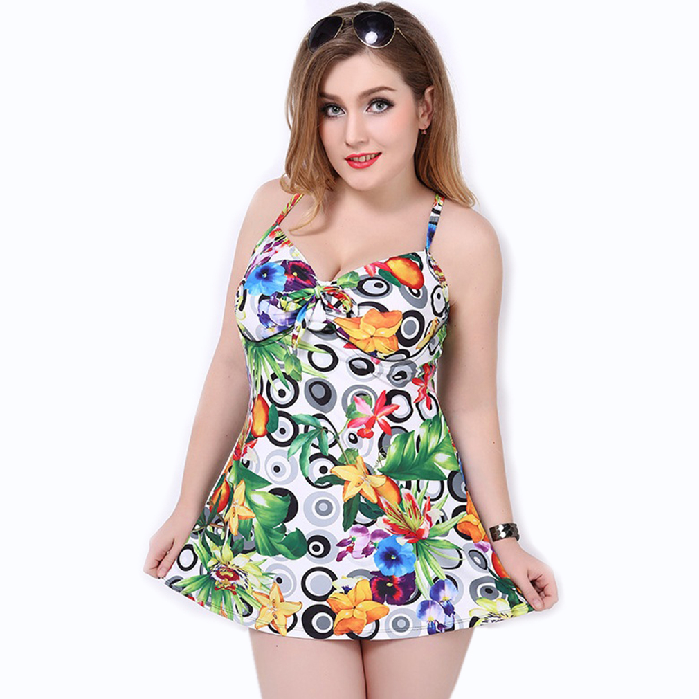 Swimwear Women One Piece Plus Size Bathing Suits Swimsuit With Skirt Flower Print Maillot De Bain Une Piece 2017 New actionclub swimming suit for women 2016 plus size swimsuit bodysuit bathing suits swimdress skirt swimwear maillot de bain ws496
