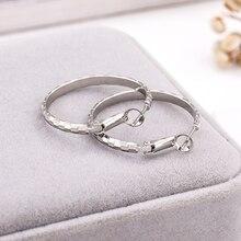 Fanqieliu Shining Luxury Real 925 Sterling Silver Earrings Female Round Forged Grain Big Hoop Earrings For Woman FQL194291 цена в Москве и Питере
