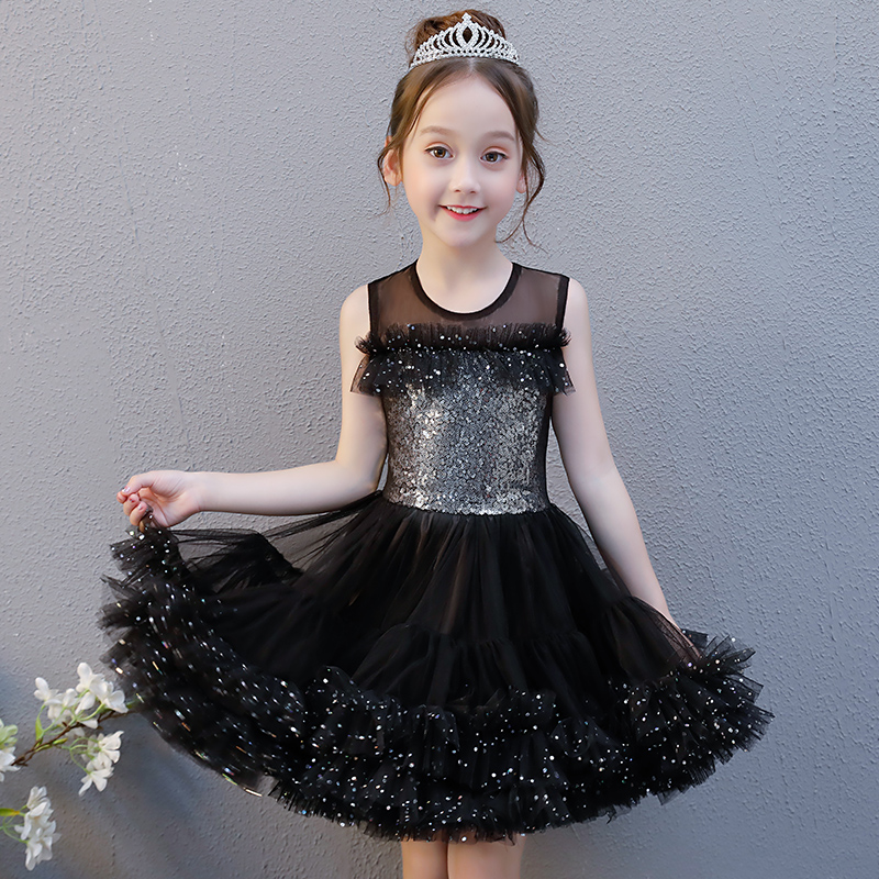 Black Sequined Girl's Dress Summer Princess Dress Sleeveless Flower Girl Dress Ball Gown Short Style Kids Pageant Gowns AA23 summer spring woman dress black white dog face pattern sequined beading chest black deep pink dress over knee cute cotton dress