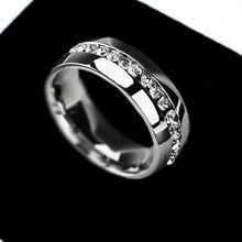 Вечность кубического циркония обручальное серебро золото кольца кристалл нержавеющей кольцо стали