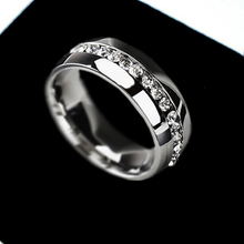Wedding Ring For women Fashion Jewelry Gold Silver Crystal Cubic Zirconia Eternity 316L Stainless Steel Rings Free Shipping L419