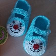 Hecho a mano de tejer lana Bebé cascabeleo gatos zapatos de suela blanda