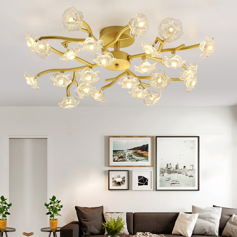все цены на Nordic Flower LED ceiling lights crytal ceiling lamps for living room Bedroom modern ceiling lighting lustre kitchen fixtures онлайн