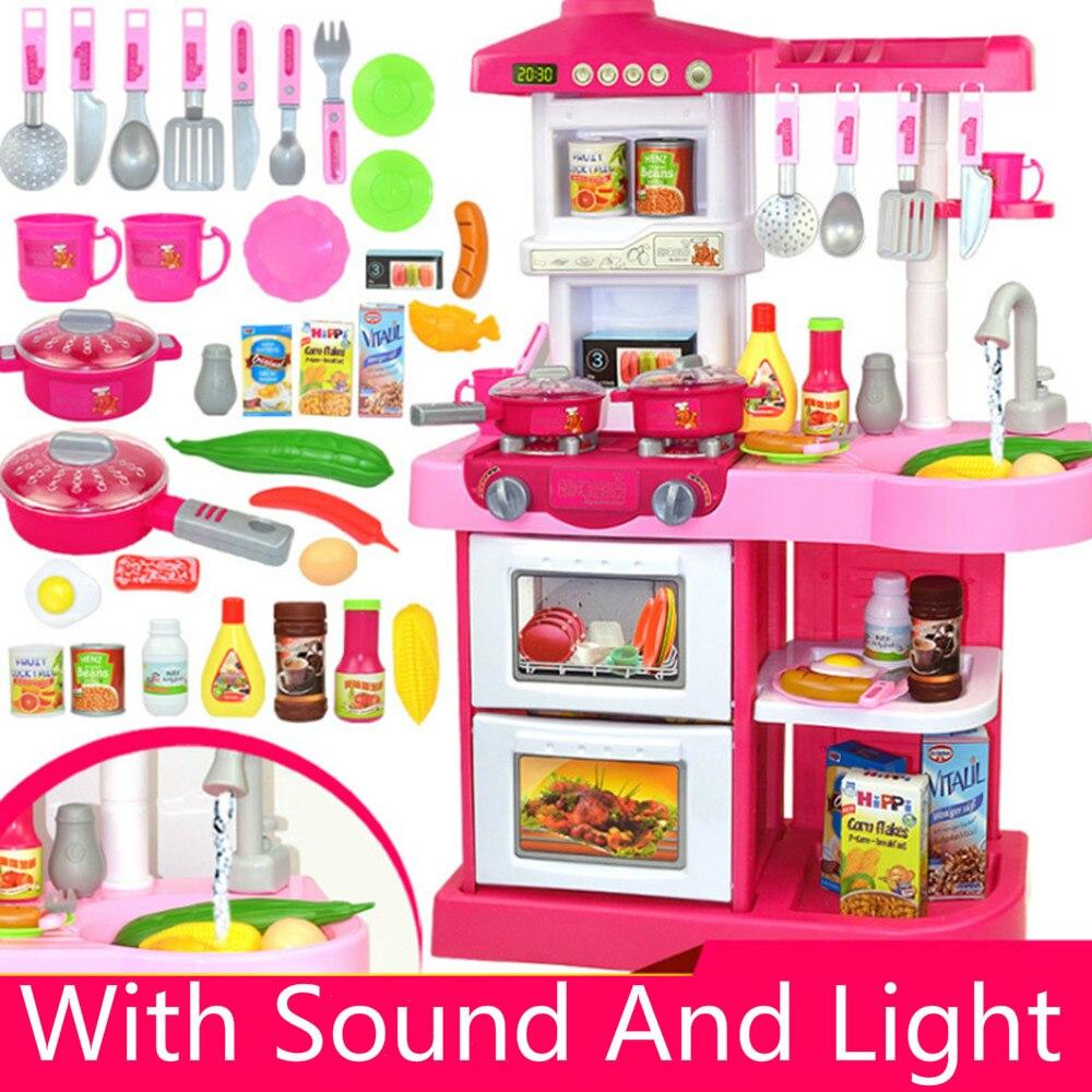 Nouveau 2 Types 1 ensembles 37 pièces cuisine en plastique semblant jouer nourriture enfants jouets avec musique et lumière hauteur est d'environ 72 cm jouets cadeaux
