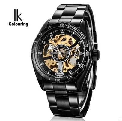 6Colors Ik Colouring Skeleton Mechanical Wrist Black/Silver Transparent Automatic Self-Wind Watches Mens +Box 98176g - Olia fashion watch shop store