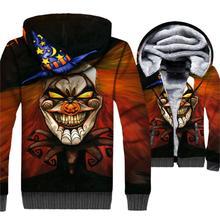 Halloween fashion 3D prints clothing 2019 winter rib sleeve zipper jackets coats casual fitness jacket men thick brand tracksuit