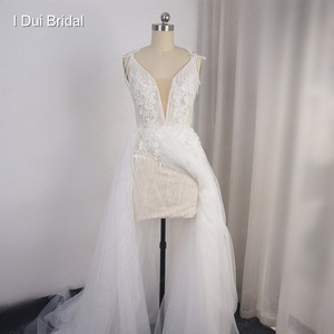 Image 4 - Split Leg Wedding Dress Short Inside Long Outside Floral Lace with Bow Tie Bridal Gown