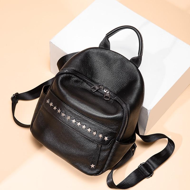 Zency 100% miękkiej skóry prawdziwej skóry moda designerski plecak dla kobiet klasyczny czarny plecak nity torby podróżne dziewczyny tornister w Plecaki od Bagaże i torby na  Grupa 3