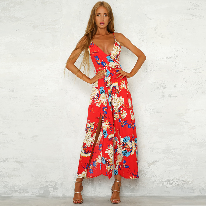 Summer Boho Sexy Spaghetti Strap Split Jumpsuits 2018 New Women Backless Floral Print Loose Rompers Female Casual Jumpsuits