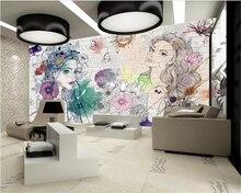 beibehang Custom photo 3d wallpaper mural hand-painted watercolor beauty salon hairdressing beauty shop background 3d wallpaper