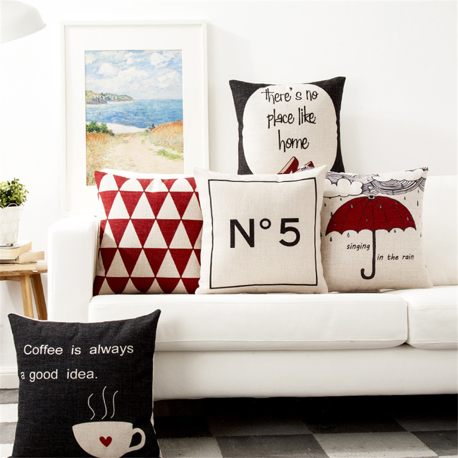 Geometric Style Umbrella Coffee Decorative Sofa Throw Pillow Car Chair Home Decor Pillow Case High Heels Printed Cushion Cover