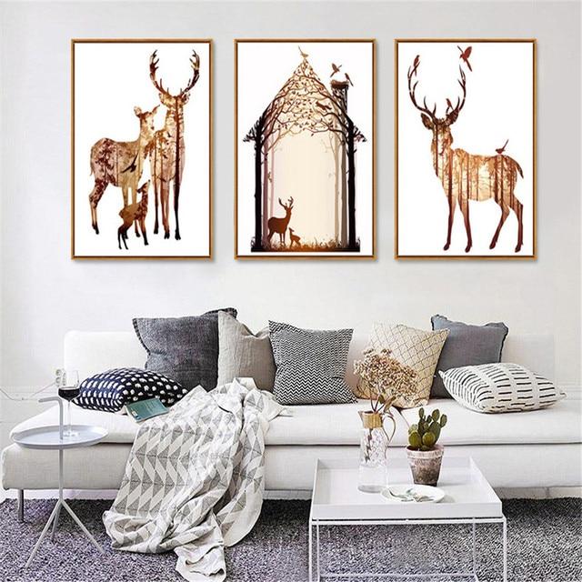 Haochu Elk Floresta Casa Impressionado Pintura Da Lona Animal Imagem Diy Nordic Modern Home Decor Parede