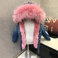 Детское джинсовое пальто, детская куртка с натуральным мехом, пальто с плюшевой подкладкой из кроличьего меха, теплое зимнее пальто с кроли