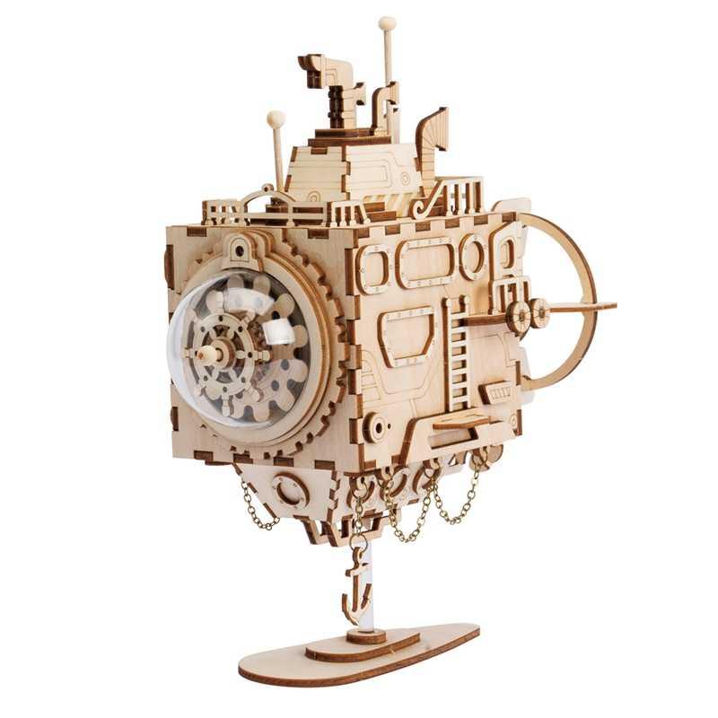 Robotime стимпанк DIY робот деревянный заводная Музыкальная шкатулка аксессуары для украшения дома Пасхальный подарок для мужа Для мужчин AM601