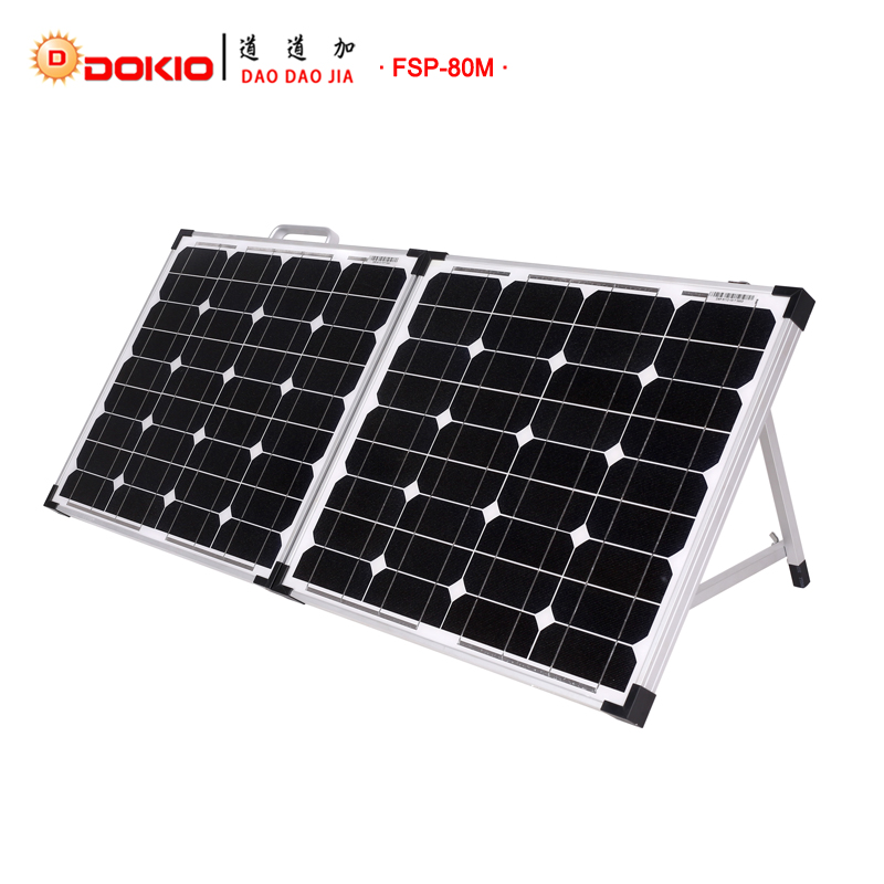 Dokio Brand Foldable Solar Panel China 80W(2Pcs x40W)+10A 12V/24V Controller 18V Solar Panels Easy to Carry Cell/System Charger