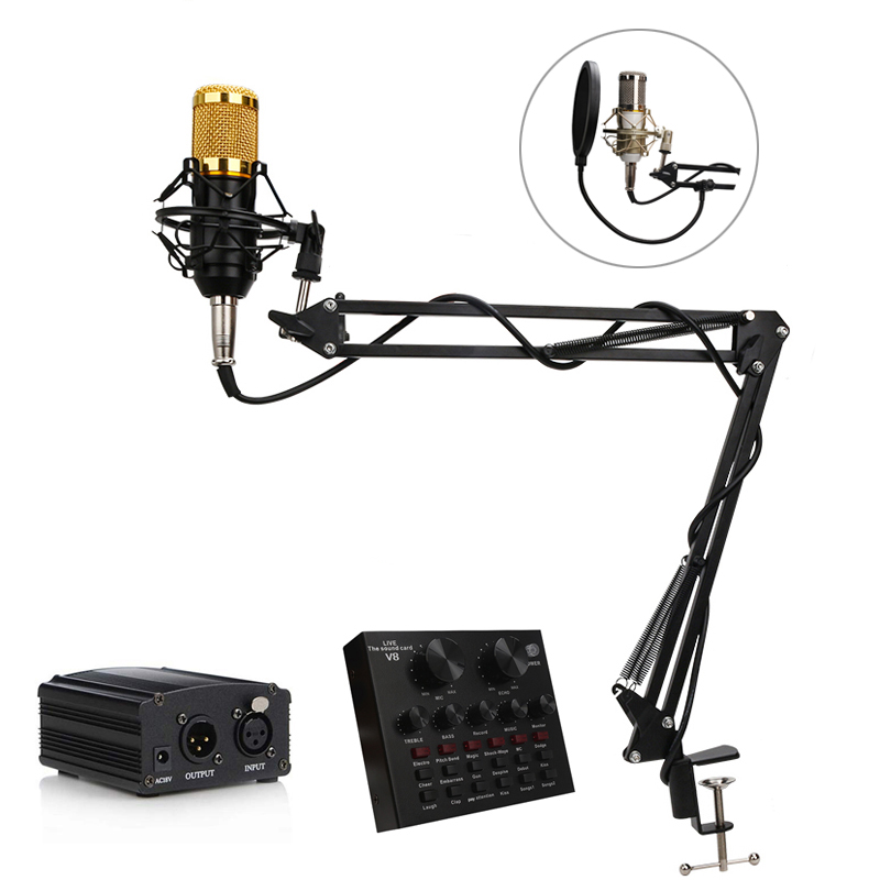 BM 800 Studio Microphone Condenser Karaoke Microphone Professional Capacitive Recording PC Vocal Handheld Mic Stand For Computer
