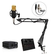 BM 800 Studio microfono a condensatore microfono Karaoke registrazione capacitiva professionale PC supporto per microfono portatile vocale per Computer