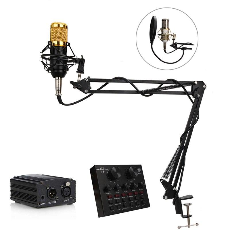 BM 800 Estúdio Microfone Condensador Profissional Microfone de Karaokê Capacitivo PC Gravação Vocal Handheld Pedestal do microfone Para Computador