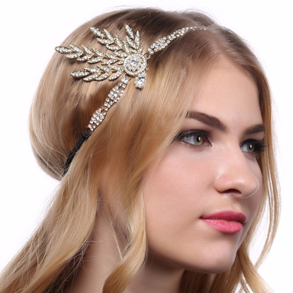 Women 1920s Vintage Bridal Headpiece Costume Hair Accessories Flapper Great Gatsby Leaf Medallion Pearl Headband headpiece
