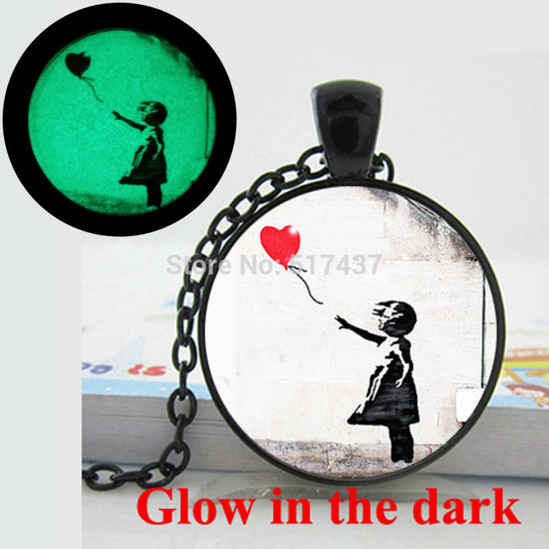 Glow in the Dark Pendant Banksy Graffiti There is ALWAYS HOPE,Girl with a Balloon Necklace glass photo pendant Glowing jewelry
