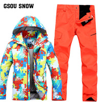 Gsou Snow Ski Suit Men's Single Double Board Windproof Warm Skiing Clothes Winter Waterproof Ski Jacket+Ski Trousers