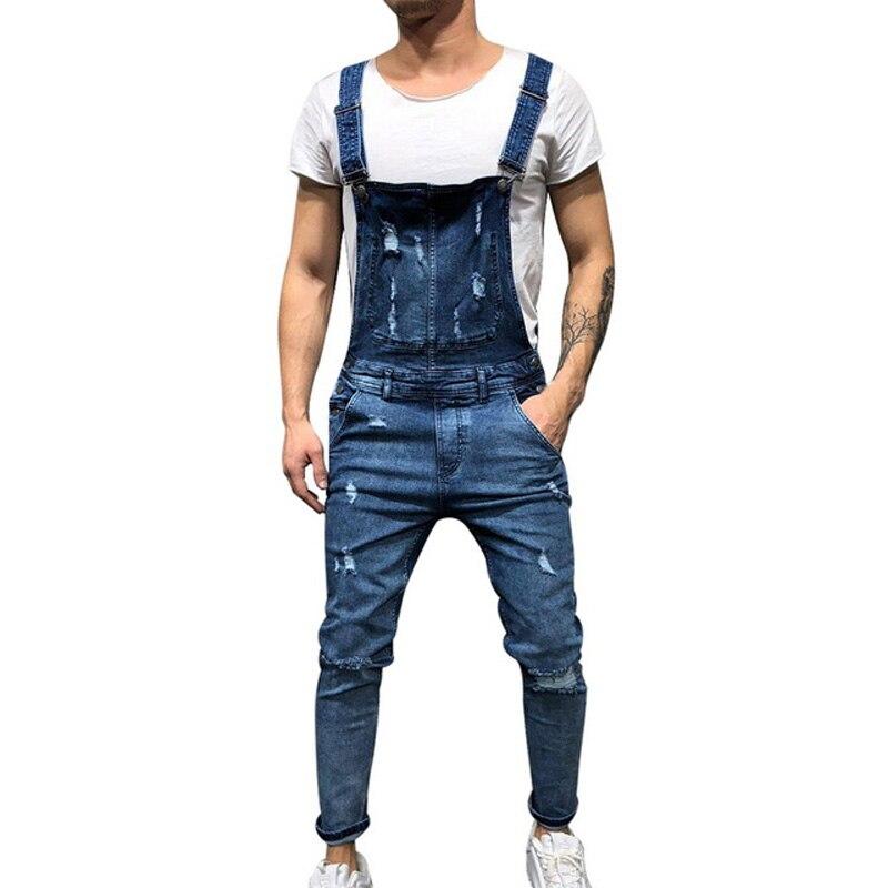 Men Ripped Denim Jumpsuit Overalls   Jean   Casual Suspenders Pants Men Fashion Hip Hop Jumpsuit   Jean   Bib Pant Streetwear