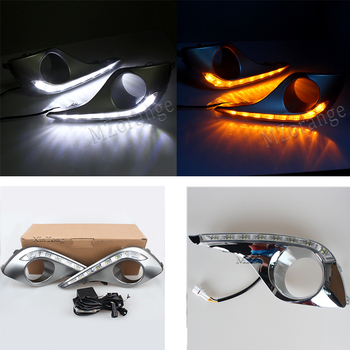 For Toyota Highlander 2012-2015 LED DRL 2pcs Daytime Running Lights with yellow Turn Signal Style Relay Waterproof IP67 fog lamp