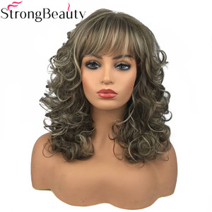 Image 2 - StrongBeauty Womens Long Curly Highlights Wigs Synthetic Wig Capless Hair
