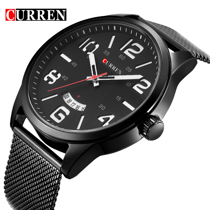 где купить Curren Fashion Japan Men Quartz Watch Men's luxury casual style quartz-watch Stainless steel Mesh Band Date Business Relojes New по лучшей цене