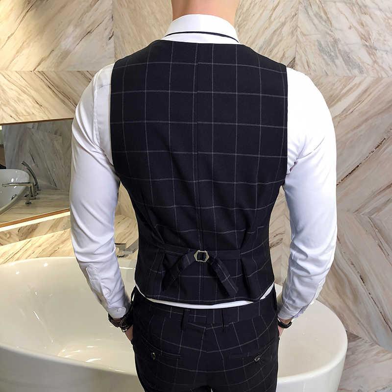 ファッションブランドメンズスーツベストビジネスウェディングドレストップス男性スリムフィット男性カジュアルグリッドのチョッキサイズs-4xl