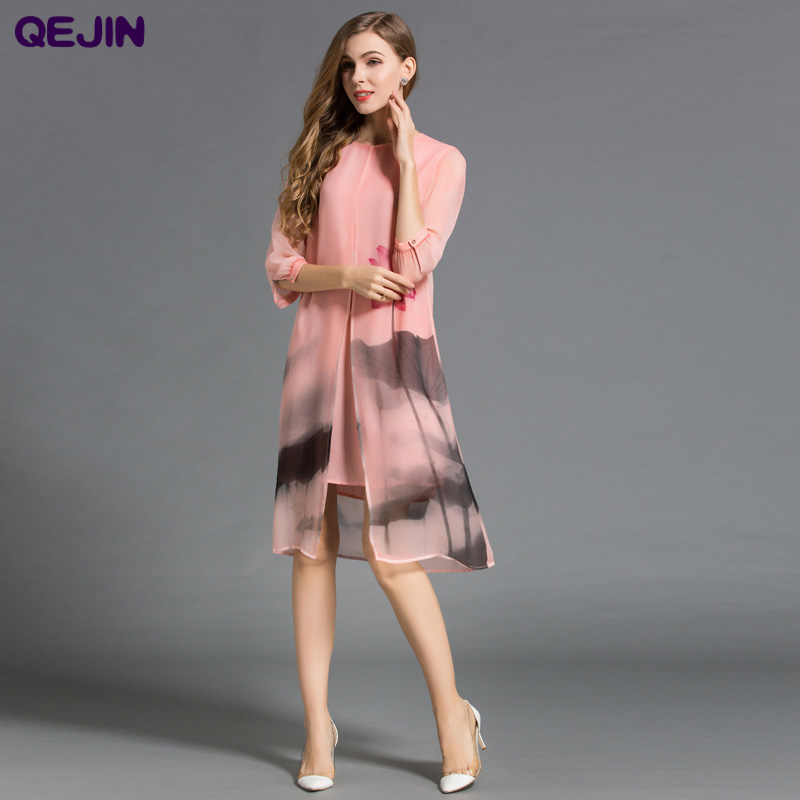2018 Summer Women dresses 100% nature silk dresses Fake two pieces High Quality soft and light Dress elegant loose female Dress laconic and elegant two pieces of leaves design rings for female