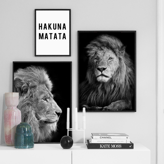 Black White Lion Hakuna Matata Quote Wall Art Canvas Painting Nordic Posters And Prints Pictures
