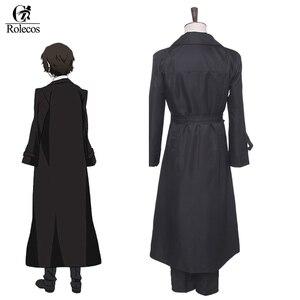 Image 4 - ROLECOS Anime Bungou sokak köpekleri Cosplay kostüm Dazai Osamu Cosplay kostüm erkekler siyah siper pantolon kravat 4 adet setleri kıyafet cadılar bayramı