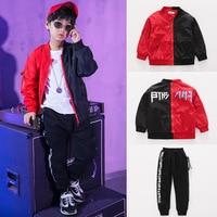 2018 Kids Adults Autumn set Costumes Love Jazz Hip Hop dance Pants & Black Red patchwork Outwear kids suits twinset
