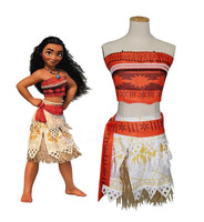Women Kids Movie Moana Princess Dress Cosplay Costume Princess Vaiana Costume Skirt