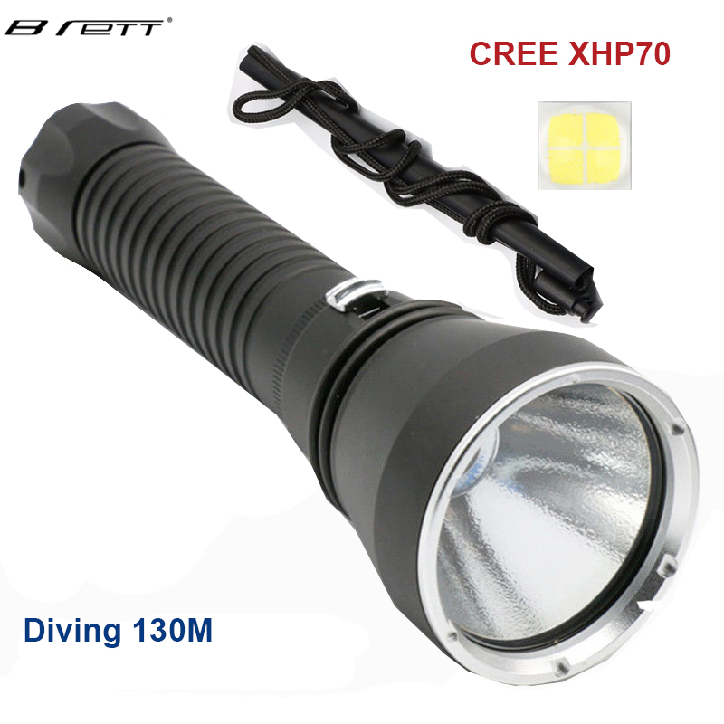 LED tactical diving flashlight Yellow / white 5000Lumens CREE XHP70 / 50   LED Diving Flashlight Underwater 130M waterproof