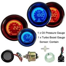 цена на 2 52mm Turbo Boost / Oil Pressure Gauge Psi 12V Car Blue Red LED Light Tint Lens LCD Auto Digital Oil Press Meter instrument
