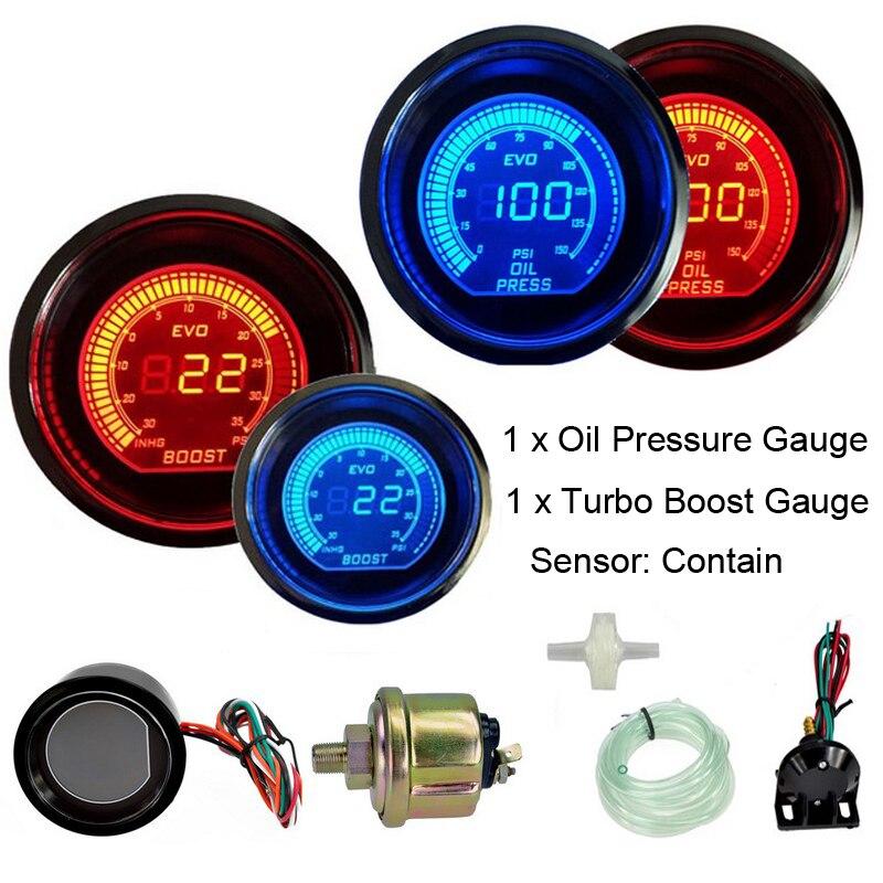 Jauge de pression d'huile de jauge de Turbo de voiture de 52mm Psi 12 V jauges automatiques bleues et lumière LED rouge