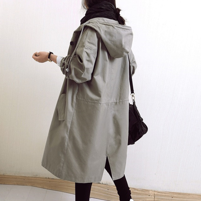 Trench-Coat Windbreaker Hooded Spring Long-Sleeve Female Autumn Women Plus-Size Casual