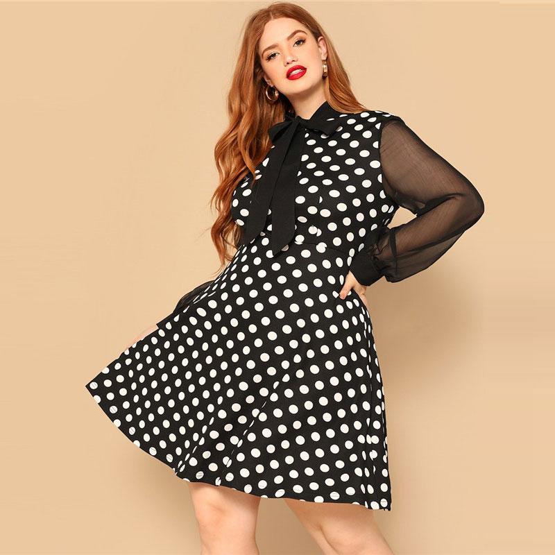 e3745324b9f8 SHEIN Bow Tie Neck Sheer Sleeve Polka Dot Plus Size Women Knee-Length Dress  Bishop Sleeve High Waist A Line Party Dresses – AVASIII