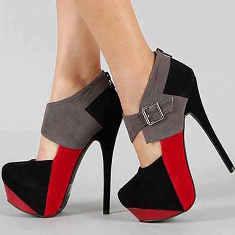Cuir Rond Livraison Couture Élégant Chaussures 5 Gratuite Multi Chaussures À Bout 14 Pompes Multi En couleur Talons Hauts Cm Nouveau Cachemire Shofoo tzqxwHt