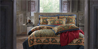 De luxe en coton Égyptien draps d'impression bleu rouge rose argent or satin ensemble de literie/couvre-lit reine roi taille couette feuille de couverture