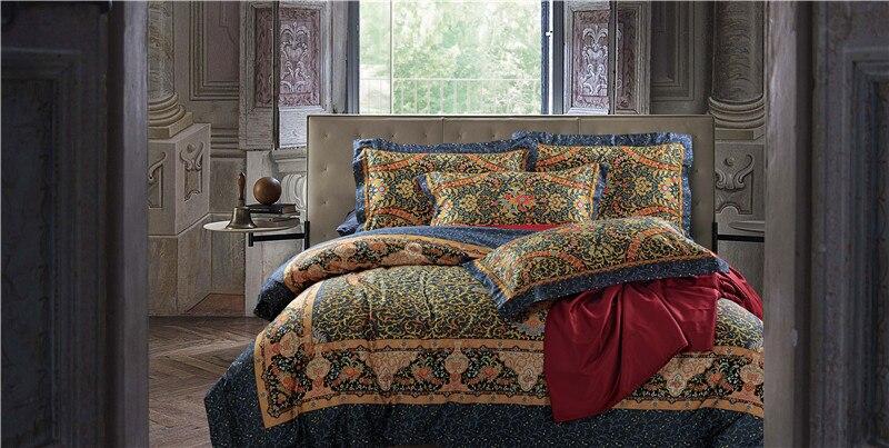 Lusso cotone Egiziano biancheria da letto di stampa blu rosso rosa argento oro satin bedding set/copriletto matrimoniale king size piumone copertina