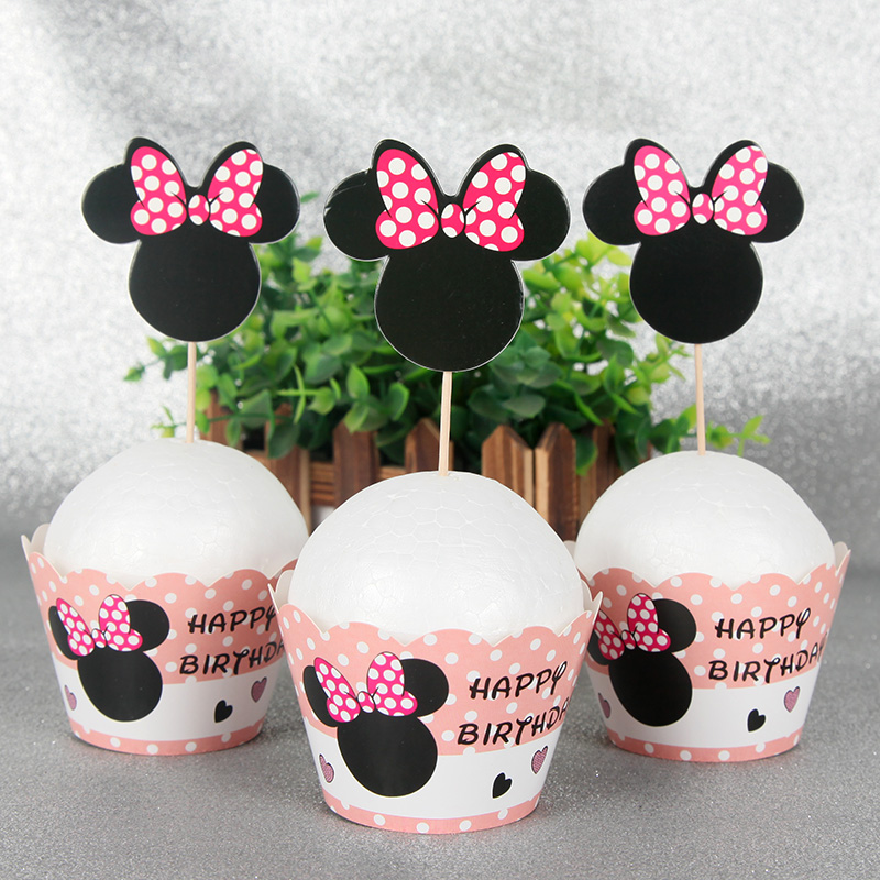 24pcs Minnie Mouse Black CakeCup Wapper Party Cake Topper Birthday Party Decorations Adult Cupcake Paper Supplies
