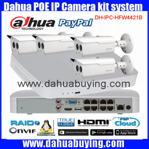 Dahua 4pcs 4MP POE IP Camera DH IPC HFW4421B System font b Security b font Camera