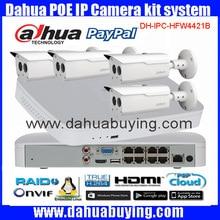 Cámara del IP del POE Dahua 4 unids 4MP DH-IPC-HFW4421B 8CH Sistema de Cámaras de Seguridad Al Aire Libre 1080 P NVR4108-8P Kit H.264 Grabadora de Vídeo